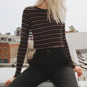 Brandy Melville Santana Long Sleeve Striped Shirt